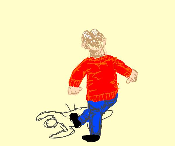 Red sweater guy kicking someone