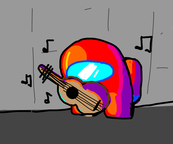 among us crewmate playing the guitar