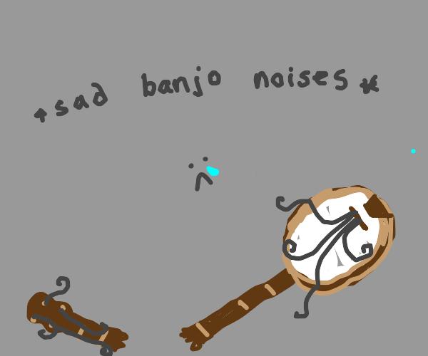 banjo is ripped in half