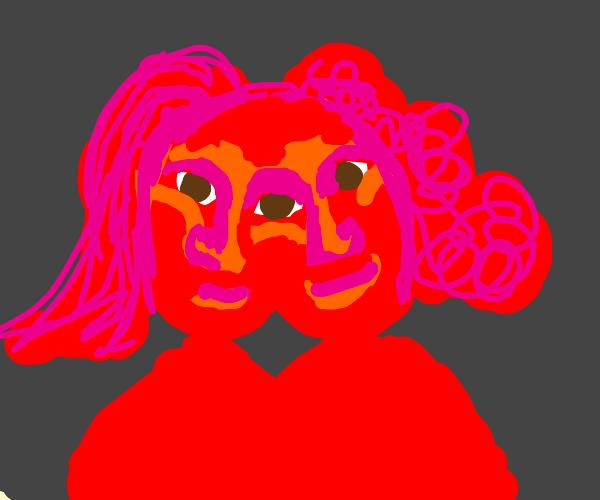 Red women sharing heads