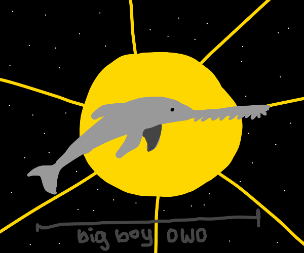 a monstruous swordfish in front of the sun