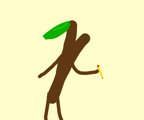 Stick with leaf holding pencil