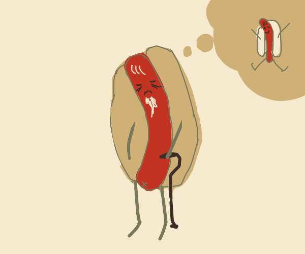 old hotdog remembering the good days