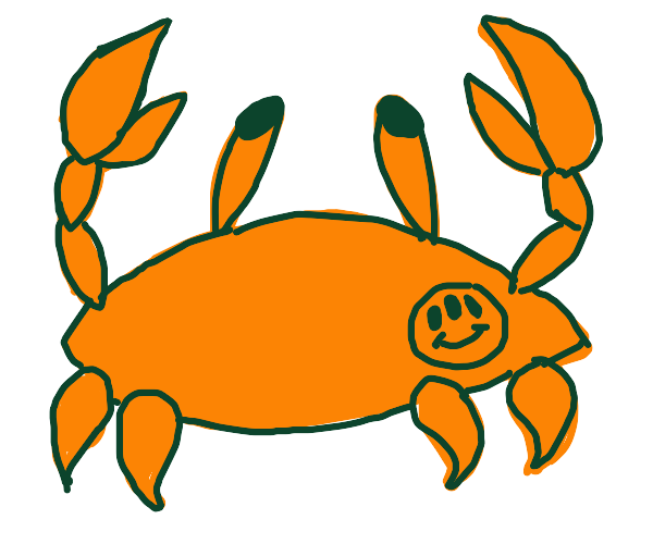 Crab with a weird smiley tattoo