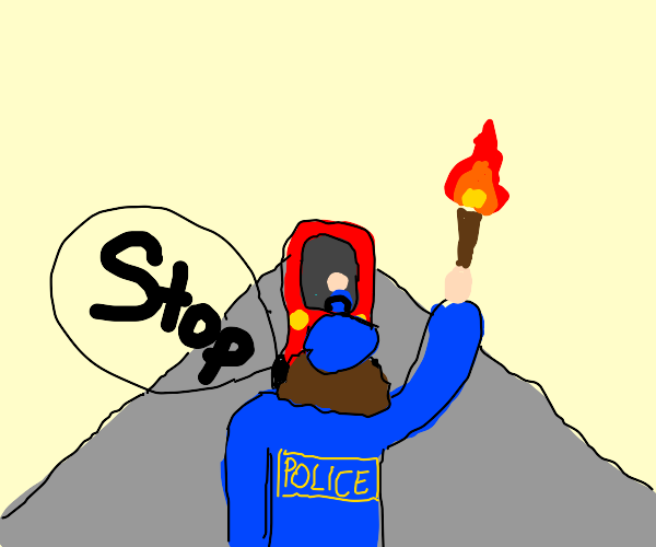 A Cop With A Torch Telling A Car To Stop