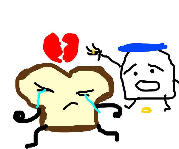 A loaf of bread divorcing a jar of mayo