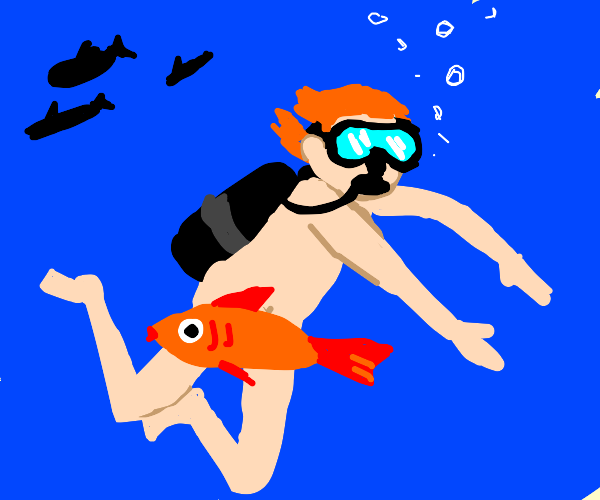 scuba man with just the mask on