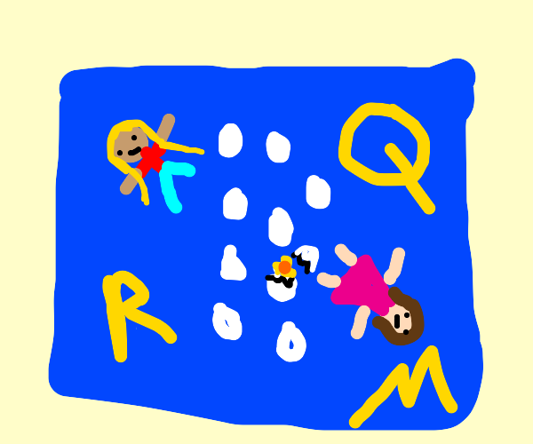 2 girls, letters, and 9 eggs in blue squares
