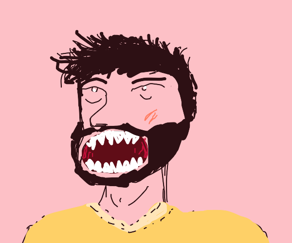 Man with large mouth and sharp teeth