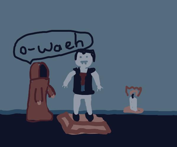grey vampire stone statue in a cult