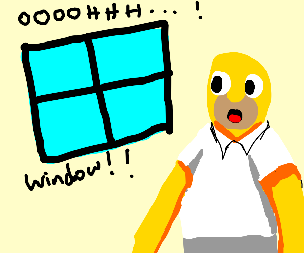Homer incredibly surprised by a window