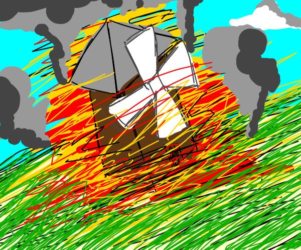 Windmill on fire