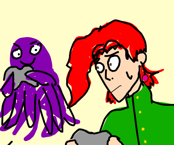 kakyoin playing videogames with a octopus...a
