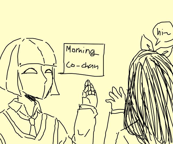 robot girl greets a human