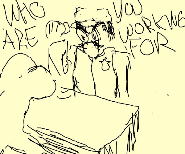 cop interrogates an ass