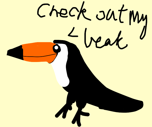 check out my beak says the toucan