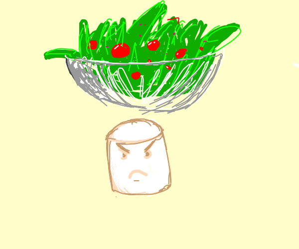 Angry marshmallow under salad