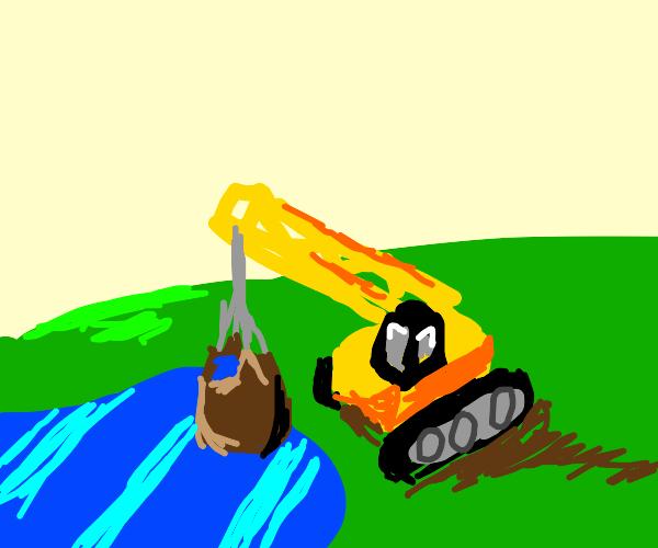 Crane lifting lake