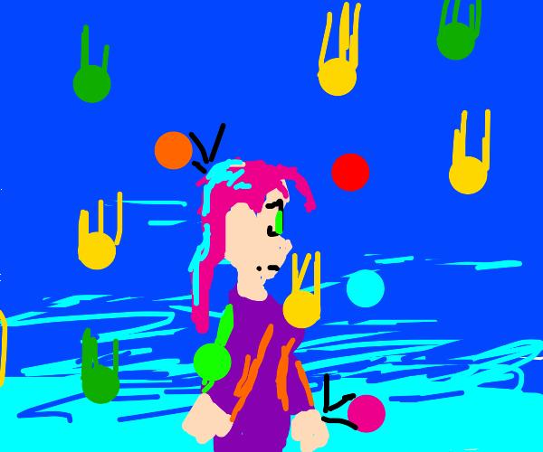 It's raining ballpit balls on the cute girl