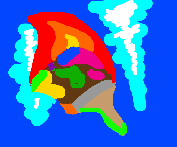 Flaming paintbrush falling into the oceans
