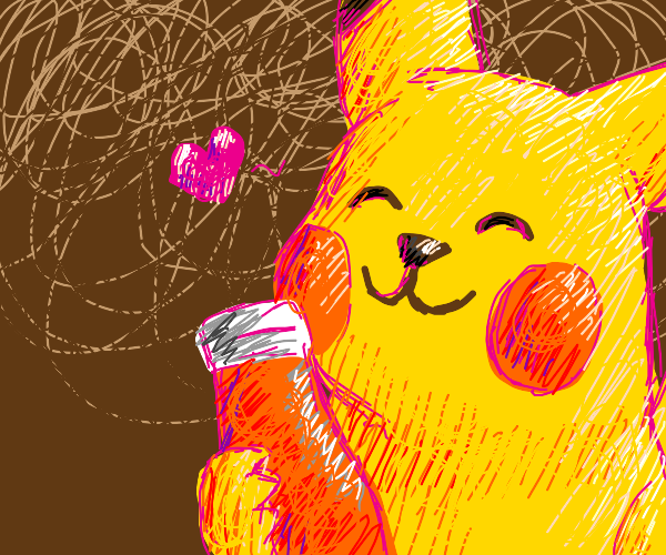 pikachu loves his ketchup
