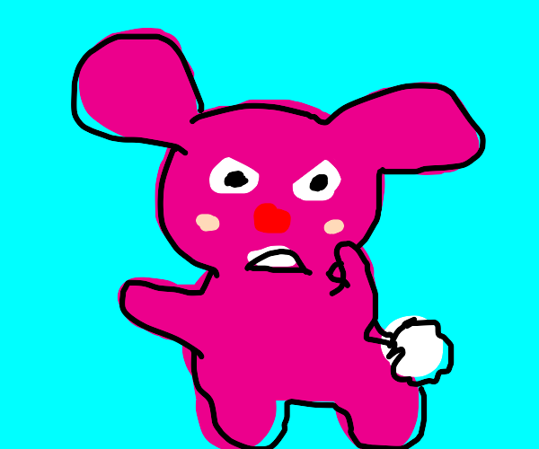 pink bunny is mad with you