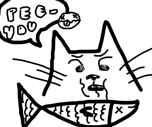 Cat sniffs dead fish