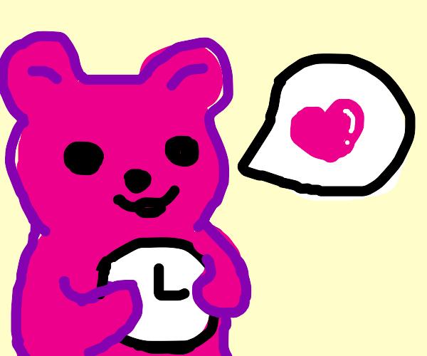 Pink bear loves time