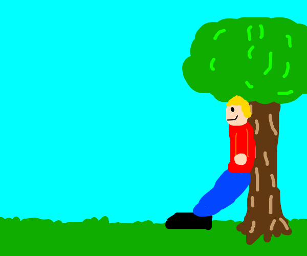 Man leaning against a tree