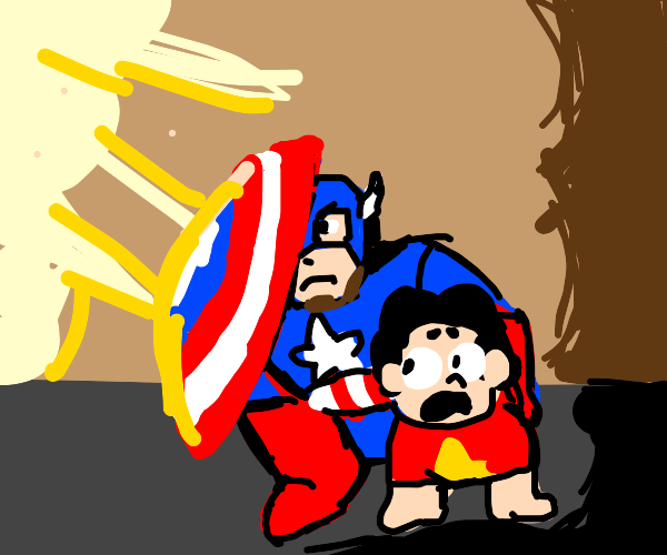 Capt. American Saves Young Steven universe