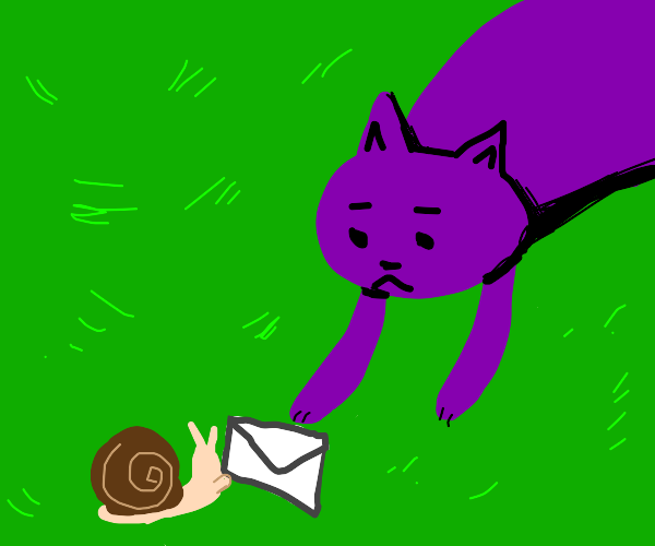 A purple cat receiving mail from the snail!