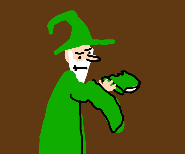 Green wizard eating a book