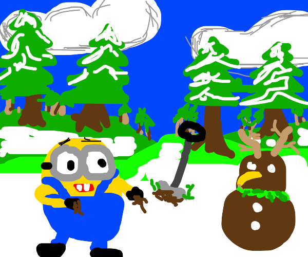 minion makes a snowman out of dirt