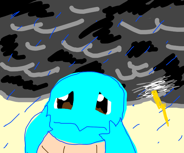 Squirtle in a storm