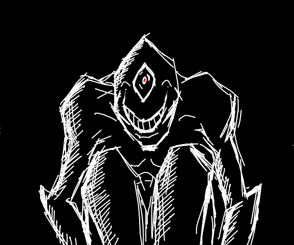 One eyed scary monster smile in the dark