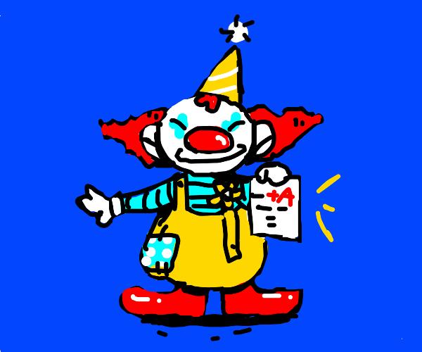 Clown gets a+