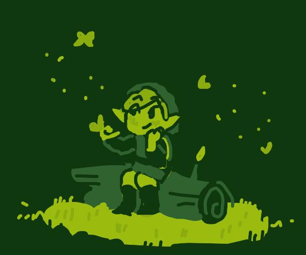 Link (TLOZ) ponders life while sitting on log