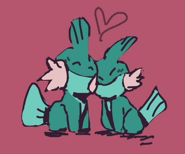 Two Mudkips falling in love