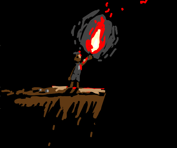 Man on cliff holds smoking red flare