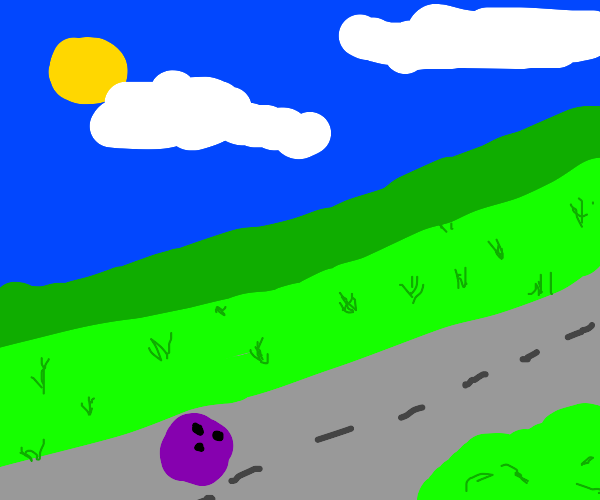 road with a bowling ball