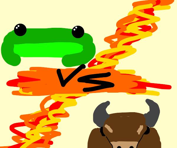 Frog vs bull battle screen