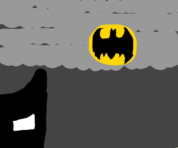 The bat signal shines bright