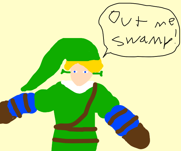 Link-Shrek threatening you out of his swamp