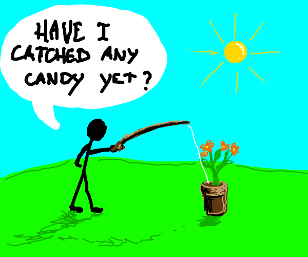 guy fishing for candy in a flower pot
