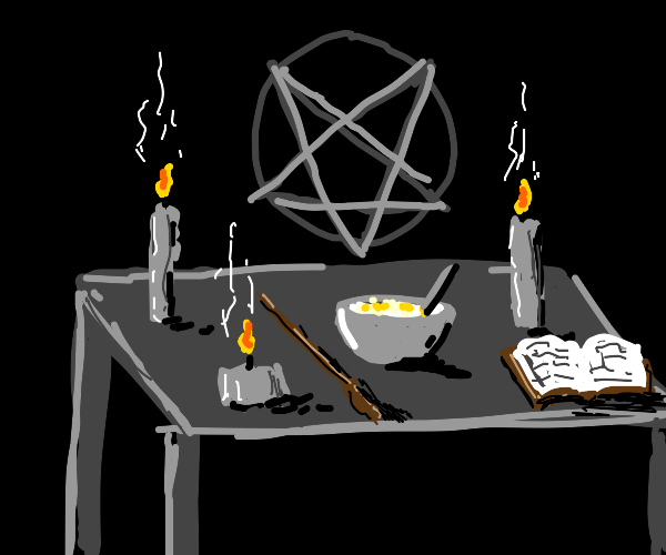 bowl of cereal amidst occult shrine