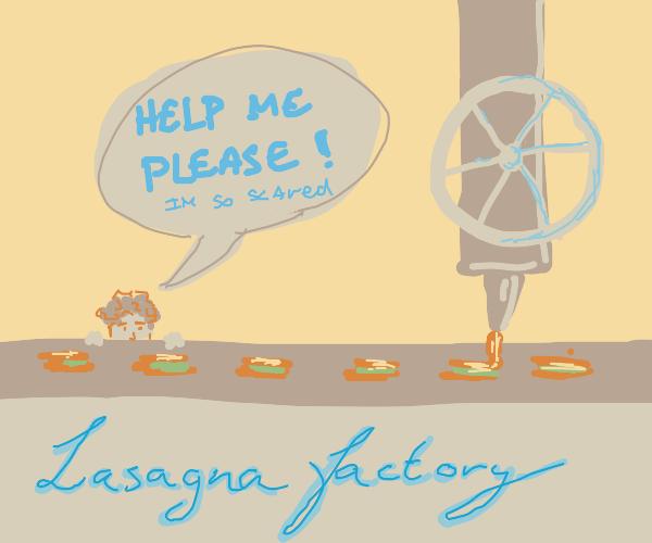 Scared man seeks refuge in lasagna factory