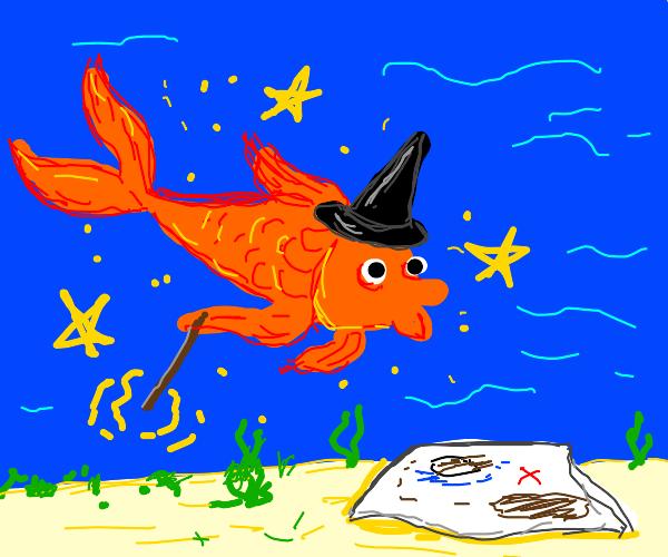 Shimmying Magic Goldfish finds a map