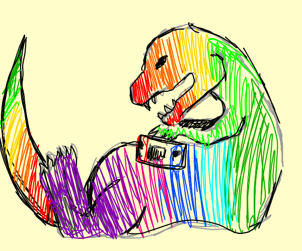 fat rainbow dinosaur playing  on his nintendo