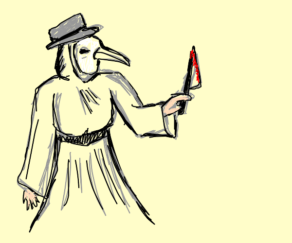lovely woman plague doctor with knife.