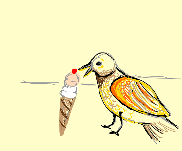 Bird enjoying a sundae